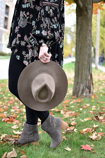 free people just the two of us floral tunic jcrew pixie pant splendid gray booties madewell hat fall outfit inspiration