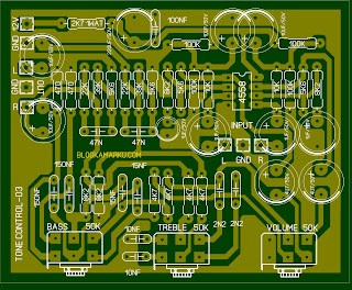 Layout PCB Membuat Tone Control stereo dengan IC 4558