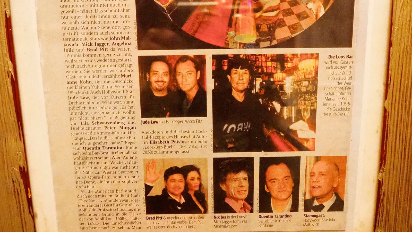 celebrities at Loos American Bar in Vienna newspaper article