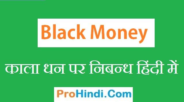 Essay on Black Money in Hindi