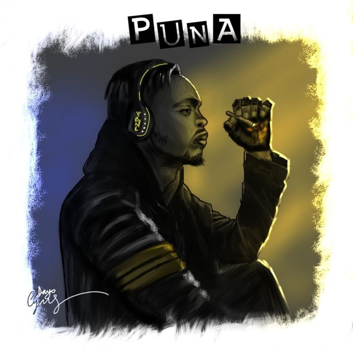 The cover art features Olamide, seated, putting headphones on his head and holding a cover in his left hand.