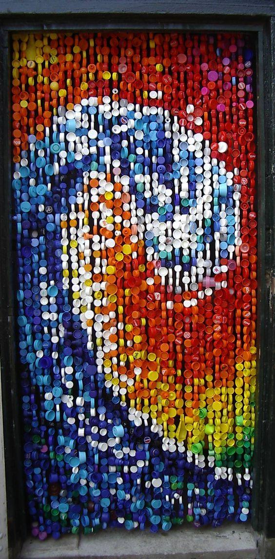 Reciclar reutilizar y reducir cortinas con tapones de - Cortinas de plastico ...