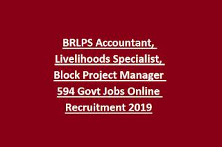 BRLPS Accountant, Livelihoods Specialist, Block Project Manager 594 Govt Jobs Online Recruitment 2019