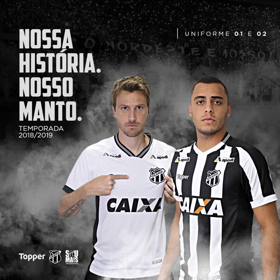 Leves os novos uniformes do Ceará para a temporada 2018-2019 apresentado  ontem à noite pela Topper e já a venda nas lojas oficiais 66ede213a3f4c