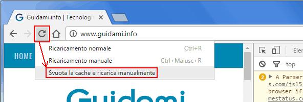 Chrome menu per cancellare la cache di un solo sito web