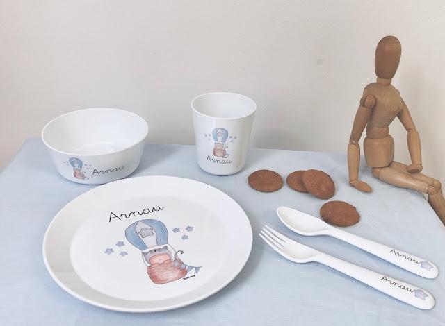 Vajilla infantil plástico personalizada  para niños