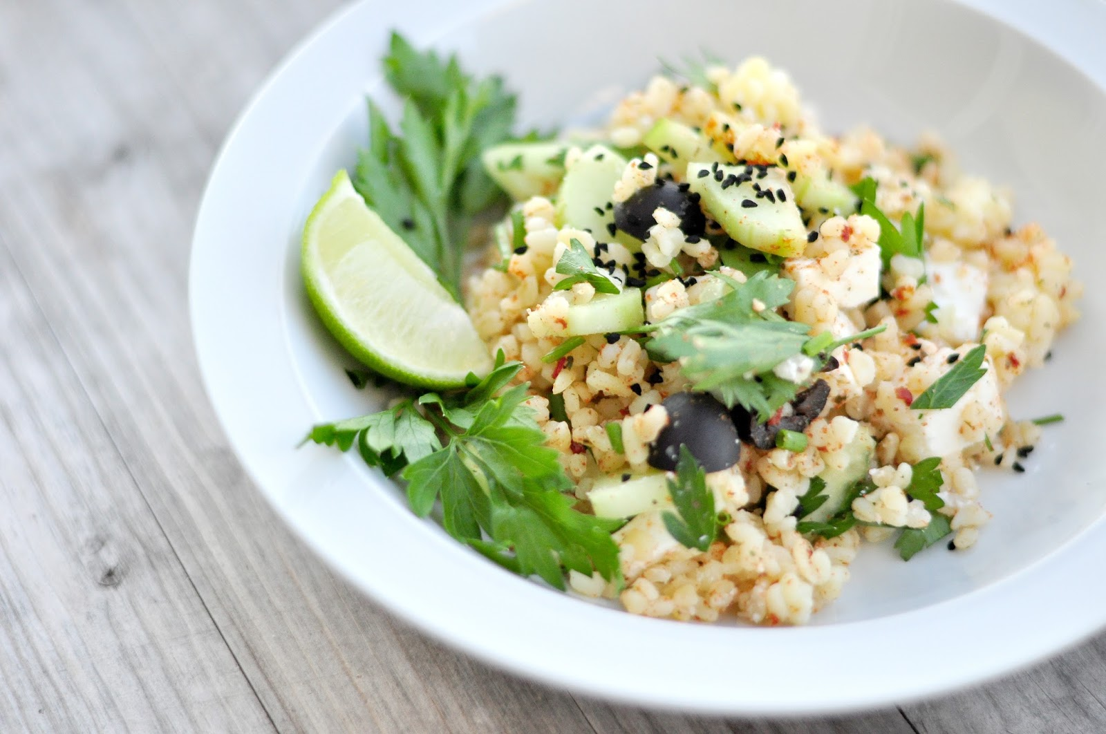 simple recipe salad bulgur black cumin seeds