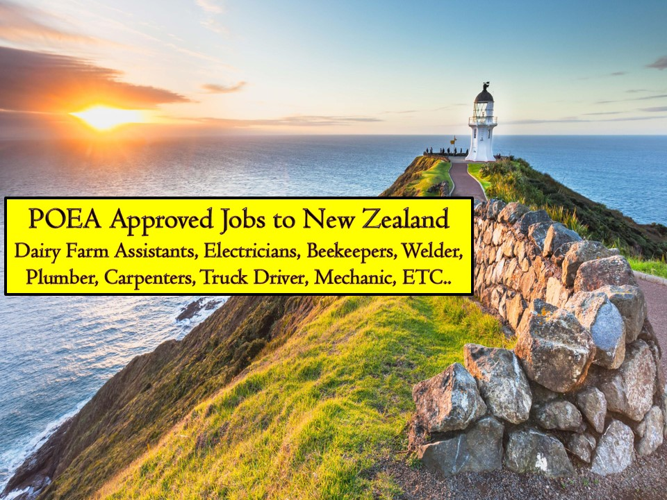 No doubt, New Zealand is one in the Top 10 Countries in the world where Filipinos want to work! Aside from the fact that New Zealand is a beautiful place, Overseas Filipino workers in New Zealand is receiving a good amount of salary and other benefits compared to other countries in the world. Just last year, OFWs in New Zealand benefited from a minimum wage hike! Also, Filipinos have an opportunity to apply for permanent residency after a few years of working in New Zealand!  So if you are planning to work in New Zealand, here is the complete list of jobs approved by the Philippine Overseas Employment Administration (POEA) to the country where you can apply this March 2019. The country is currently looking for the following; electricians, dairy farm assistants, beater panel, beekeeper, heavy equipment operators, and many others!  Bahayofw.com is NOT a recruitment agency and we are NOT processing nor accepting applications for jobs abroad. All information in this article is taken from the website of POEA — www.poea.gov.ph for general purposes only. Recruitment agencies are being linked to each job orders so that interested applicants may know where to coordinate and apply for their desired position.  Interested applicant may double-check the job orders as well as the licensed of the hiring recruitment agencies in the POEA website to make sure everything is legal.