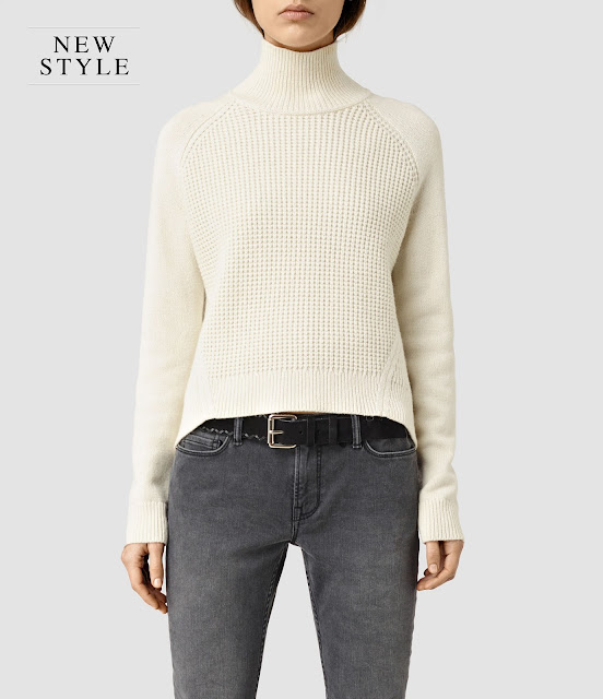 white funnel neck knit jumper, all saints white gal jumper,