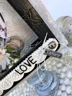Sara Emily Barker https://sarascloset1.blogspot.com/2019/04/trashy-love-story-vignette-for-frilly.html Vignette Box Tutorial Tim Holtz 3D Embossing Seth Apter Baked Velvet 12