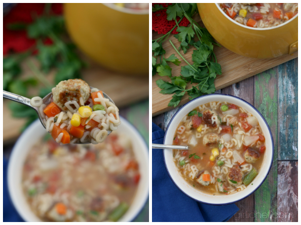 Alphabet Veggie Soup with Mini Chicken Meatballs