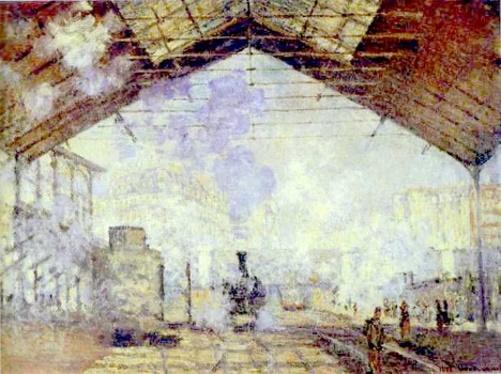 A Estação de Saint-Lazare, pintura de Claude Monet. #PraCegoVer