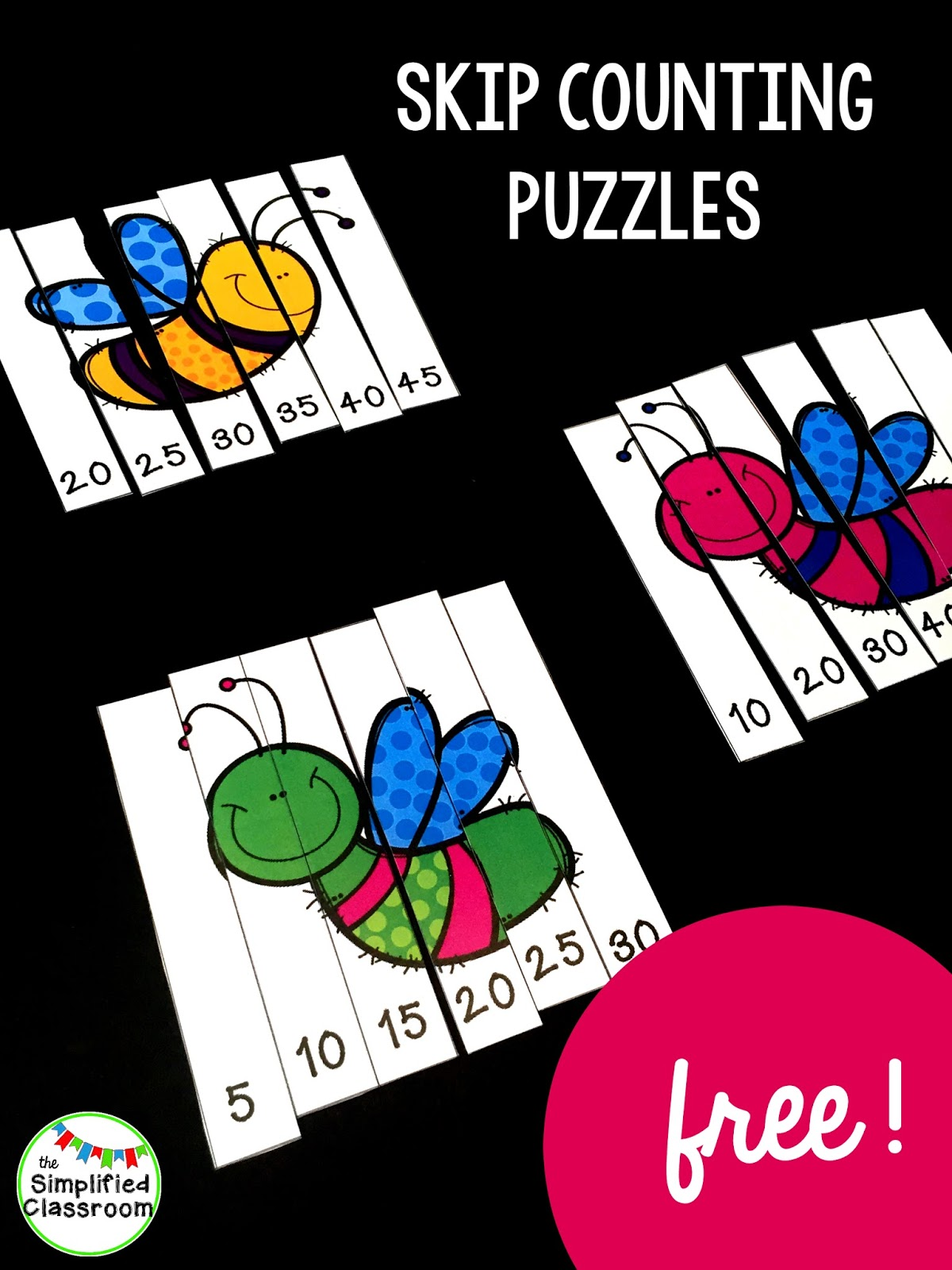 The Simplified Classroom Spring Insects Skip Counting Puzzles