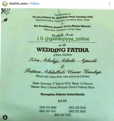 Wedding Fatiha of Fateema Ganduje and Abolaji Ajimobi kicks off this coming weekend in Kano