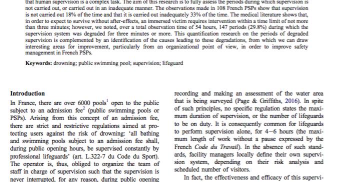 gestion du risque de noyade en piscine publique