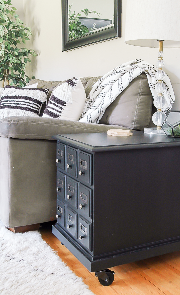 Card Catalog inspired side table makeover