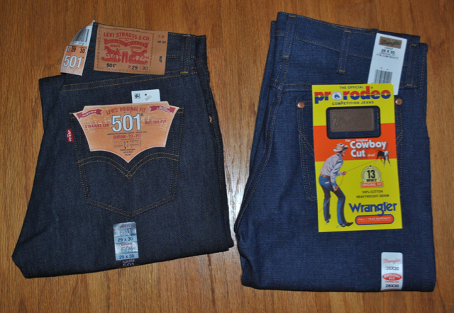 Levis 501STF and Wrangler 13MWZ current model , new with tags