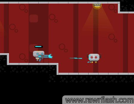 Jogo de plataforma e tiro. Você é um robô de batalha, e todos os outros robôs são seus inimigos.