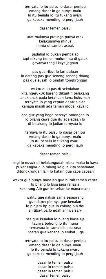 Lirik Lagu Young Lex Teman Palsu