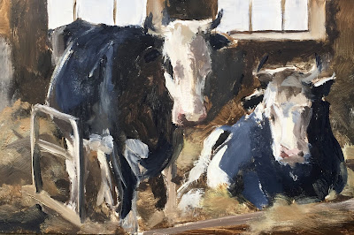 """Black and white cows"" Original oil painting on panel 30x20cm by Philine van der Vegte"