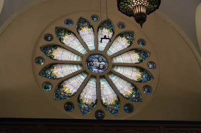Rose window with stained glass