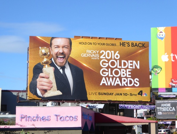 Ricky Gervais 2016 Golden Globe Awards billboard