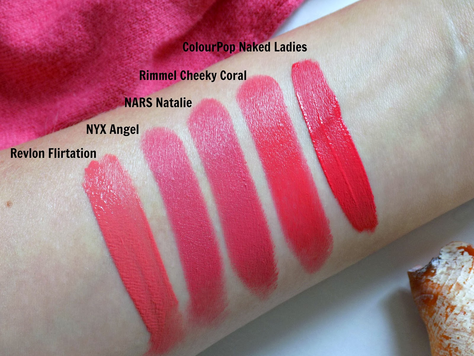 Summer coral lipsticks swatches