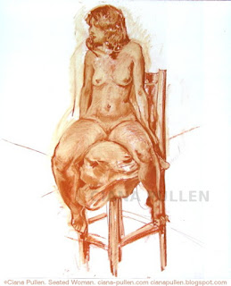 Sepia brown chalk sketch of a nude woman on a tall chair, in a realistic style