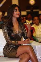 Pooja Hegde looks glamarous in deep neck sleevless short tight golden gown at Duvvada Jagannadham thank you meet function 024.JPG