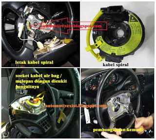 salah satu hal yang ditakut dalam membongkar bagian kemudi pada kendaraan roda empat adal Cara Melepas Setir Mobil SRS AirBag