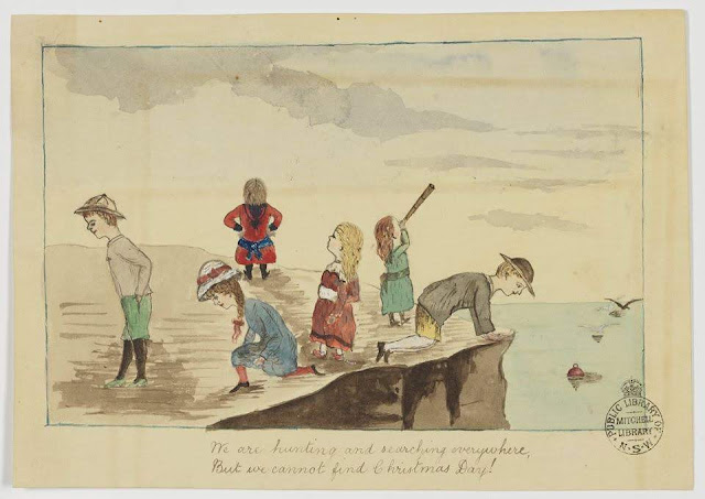 """Christmas Card design depicting six children searching on the top of a cliff overlooking the ocean with a bouy and seagulls, with the words """"We are Hunting and searching everywhere, But we cannot find Christmas Day!""""."""