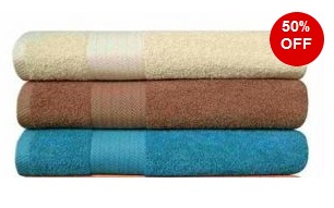 Get Set of 3 Large Size Cotton Towels (60 inch x 30 inch) worth Rs.999 for Rs.469 Only (Rs.156 each)
