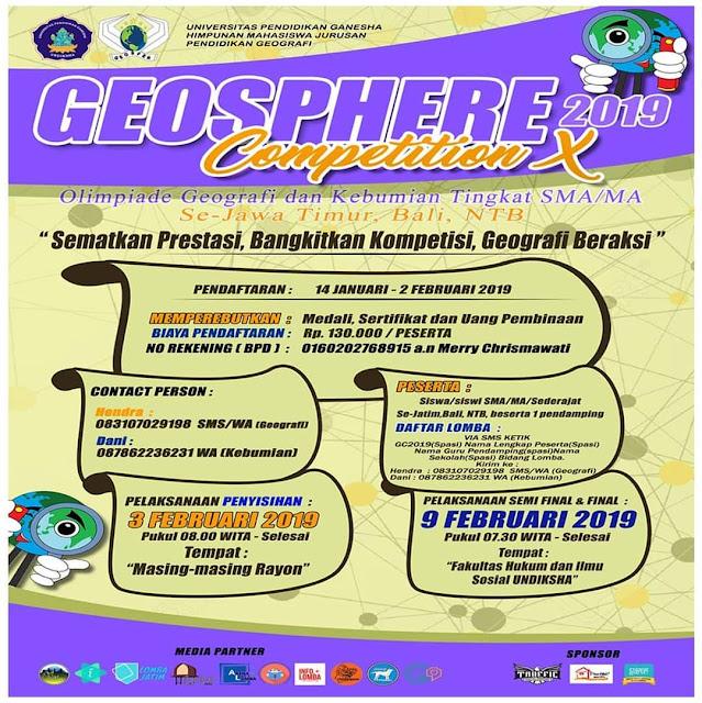 Lomba Geografi GEOSPHERE 2019 SMA Sederajat Se-Jawa Timur Bali
