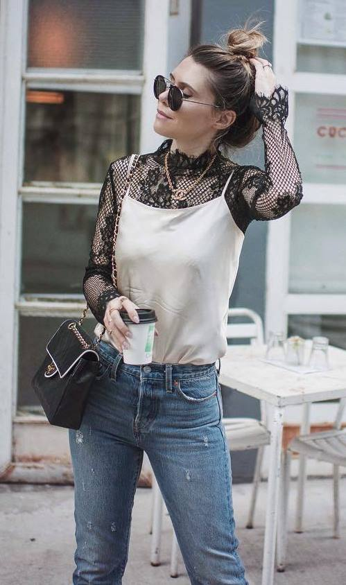 stylish look | silk tank top + black lace top + bag + rips