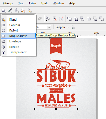 Desain Teks Tipografi, membuat desain teks tipografi, Tutorial CorelDRAW.