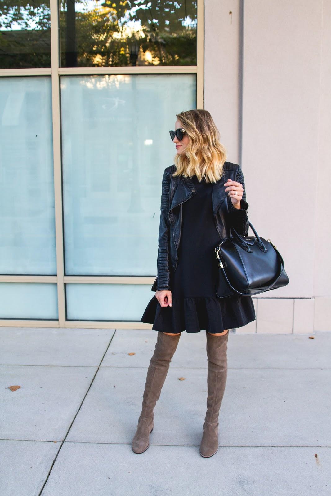 3e1d6a21d7f Drop Waist Dress   Leather Moto Jacket
