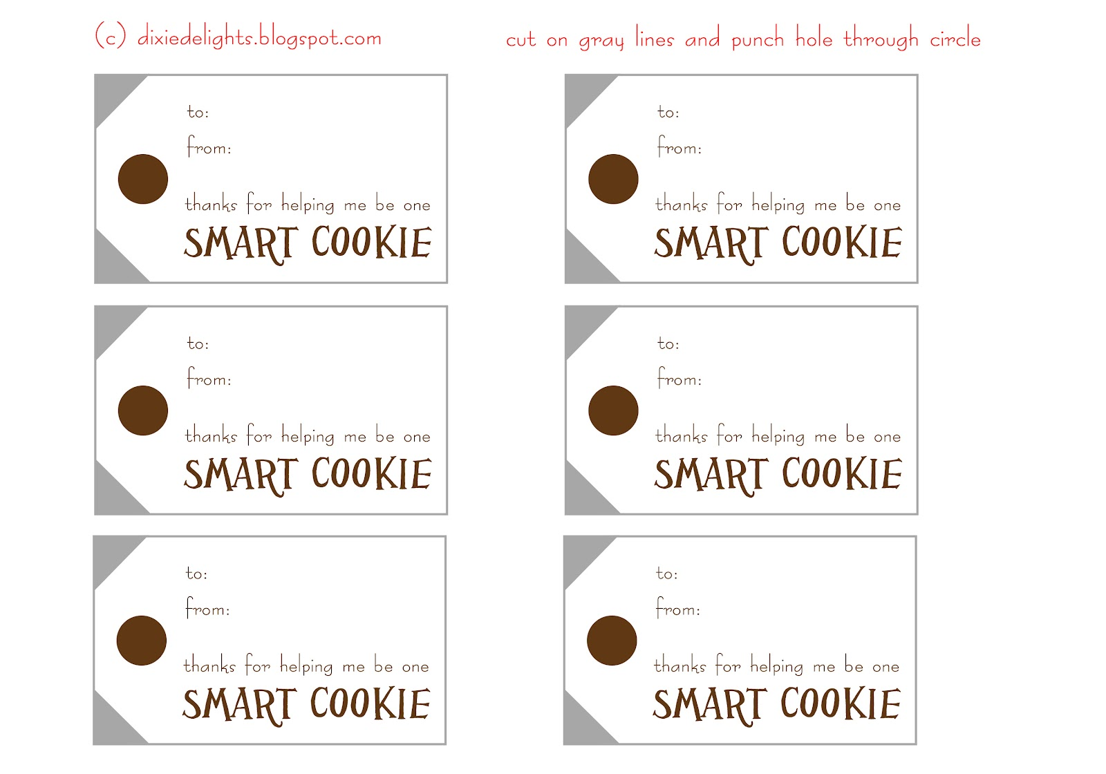 picture about You're One Smart Cookie Printable identify A person Intelligent Cookie Reprise Free of charge Printable Dixie Delights