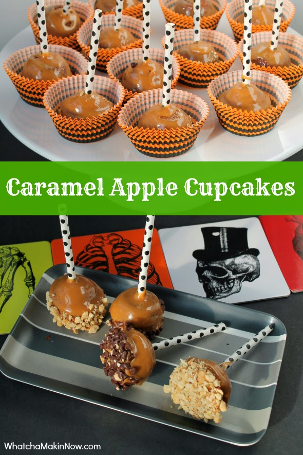 Caramel Apple Cupcakes - take a mini-cupcake, dip in caramel, add toppings and you have an AMAZING treat!!