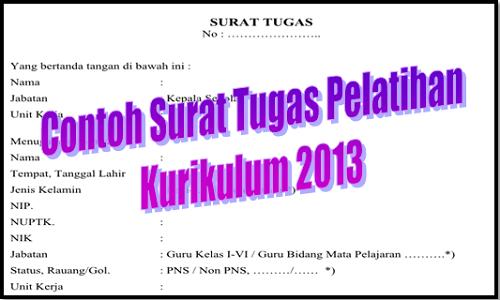 Contoh Surat Tugas Pelatihan Kurikulum 2013