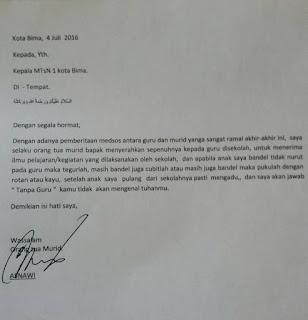 Surat pernyataan orang tua murid yang menyerahkan pedidikan anaknya