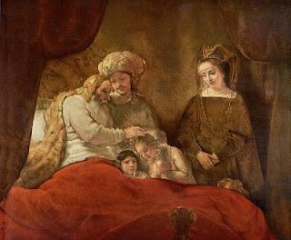 Nomes bíblicos estrangeiros masculinos com J - Imagem: Jacó abençoa Efraim e Manassés - Rembrandt