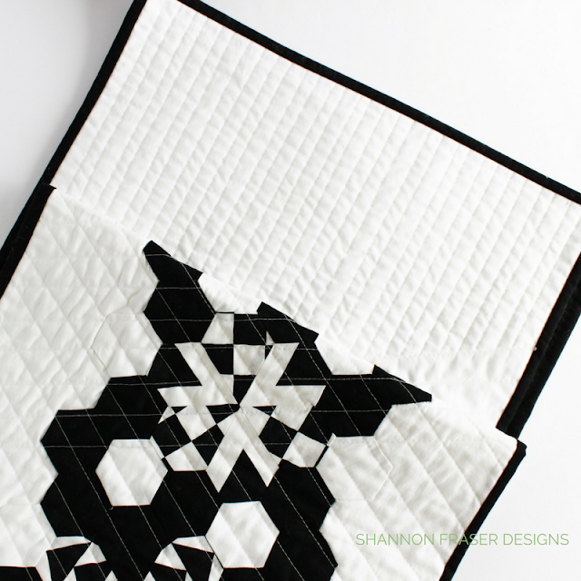 Modern Quilted Table Runner | Black & White | Shannon Fraser Designs | Quilted Hexies and Jewels using Hex-N-More Ruler