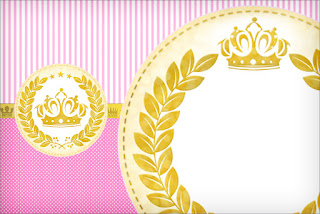 Golden Crown in Pink with Stripes and Polka Dots Free Printable Invitations.