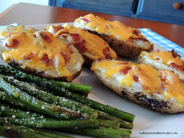 Roasted Asparagus and Twice Baked Potatoes from Walking on Sunshine