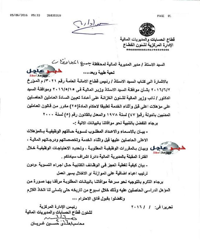 وزارة المالبة توافق على التسوية للموظفين الحاصلين على مؤهل عالى قبل او اثناء الخدمة
