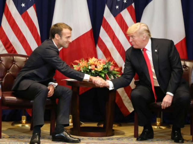 Donald Trump and Emmanuel Macron discuss Syria, Iran and trade