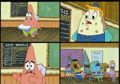 Kumpulan gambar Polosan Meme Spongebob - Patrick kejepit bangku
