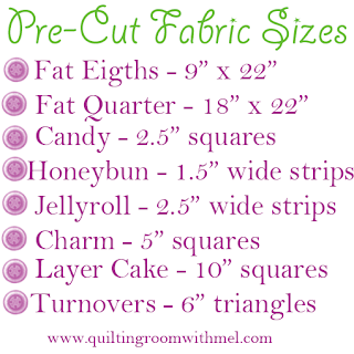 pre-cut fabric sizes