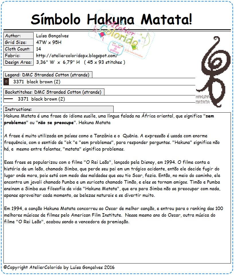 Atelier Colorido Px Símbolo Hakuna Matata