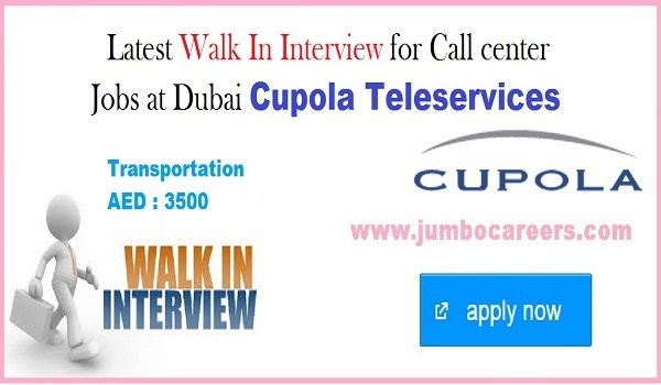 Cupola Teleservices hiring staffs for call center, Call center jobs with Transportation,